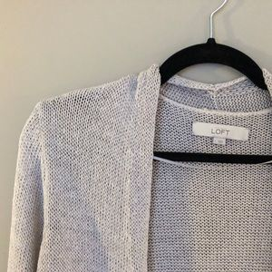 Loft cotton blend knit cardigan in oatmeal